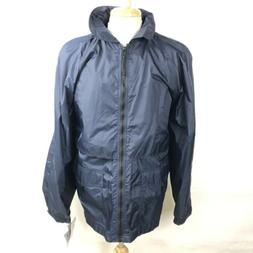 navy blue hooded rain jacket coat vented