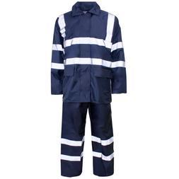 Supertouch Navy Hi Vis Polyester PVC Rain Suit Jacket Trouse