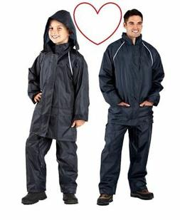 navy waterproof suits boys men wet suit jacket trousers rain