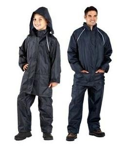 navy waterproof suits men boys jacket trousers rain suit