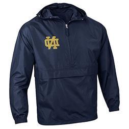 Champion NCAA Men's Half Zip Front Pocket Packable Jacket, N