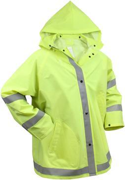 Neon Green Reflective Rain Jacket Stripes Hood High Visibili
