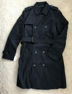 NEW Zara Basic Womens Black Trench Coat Belted Button Rain J