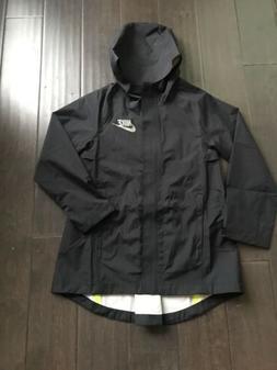 New Nike Girls Youth Black Breathable Waterproof Rain Jacket