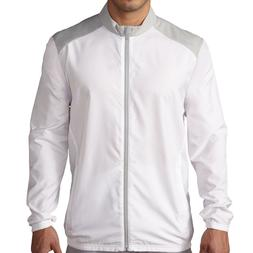 New Mens Adidas Club Wind Jacket White Grey Long Sleeve Rain