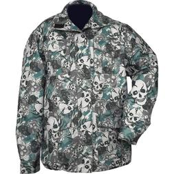 New Mens Green Skull CAMO Water Resistant Jacket Rain Coat H