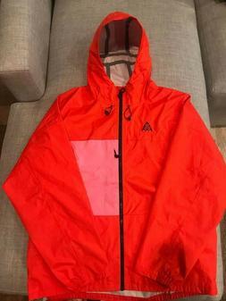 New Nike ACG Packable Rain Jacket Habanero Red/Lotus Pink BQ