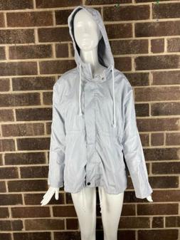 nwot womens gray hooded lightweight waterproof rain