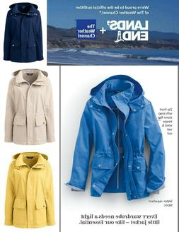 "NWT Lands End ""Weather Channel"" Womens Hooded Rain Jacket Co"