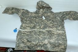 NWT Mens XL military Hooded rain Jacket rain over coat    46