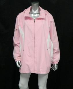ZEROXPOSUR NWT Pink/White Colorblock Zipper Front Rain Jacke