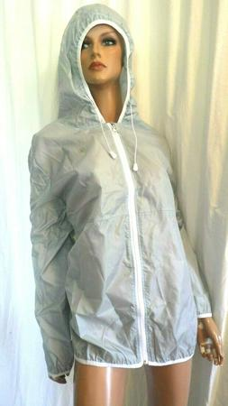 NWT FULL BEAUTY PLUS SIZE 2X PALE GRAY HOODED BACK VENT WIND