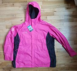 NWT COLUMBIA WOMEN'S TESTED TOUGH IN PINK HOODED RAIN JACKET
