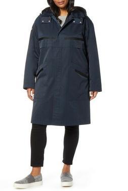 NWT Bernardo Womens Plus Size 3X Long Hooded Rain Coat Detac
