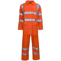 Supertouch Orange Hi Vis Polyester PVC Rain Suit Jacket Trou