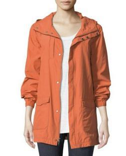 Eileen Fisher Organic Cotton Orange Hooded Anorak Lined Rain