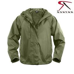Packable Waterproof Rain Jacket - Rothco Olive Drab Rip-Stop