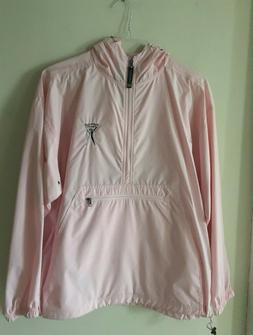 CHARLES RIVER APPAREL PINK RAIN JACKET WITH HOOD  SIZE M  NW