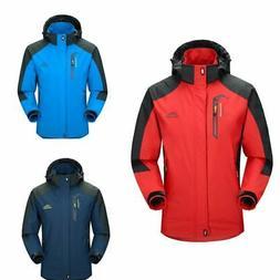 Plus Size Men Waterproof Hooded Winter Warm Coat Snow Rain J