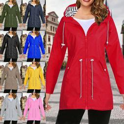 Plus Size Women Coat Waterproof Raincoat Ladies Outdoor Wind