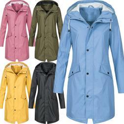 Plus Size Women Hood Wind Jacket Outdoor Waterproof Maxi Rai