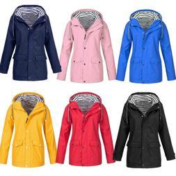 Plus Size Women Long Sleeve Hooded Jacket Outdoor Windproof