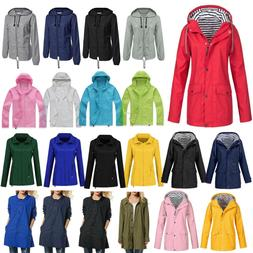 Womens Lined Waterproof Jacket Hooded Raincoat Windbreaker O