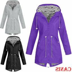 Plus Size Women Waterproof Jacket Raincoat Hooded Rain Mac C