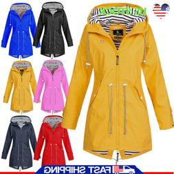 Plus Size Womens Rain Wind Waterproof Jacket Hooded Outdoor