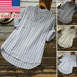 Plus Size Womens Summer Striped V Neck Blouses Loose Office