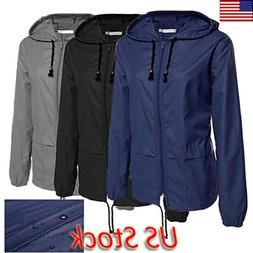 Plus Size Womens Waterproof Jacket Raincoat Hooded Rain Mac