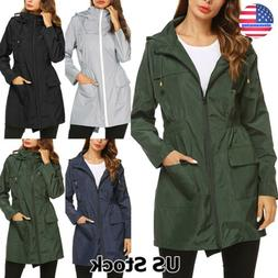 Plus Size Womens Waterproof Rain Mac Wind Jacket Ladies Hood