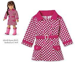 American Girl Polka Dot RAINY DAY Pink Rain Coat and Charm N