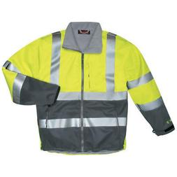 TINGLEY Polyurethane Breathable Rain Jacket,Hi-Vis Yl/Grn,3X