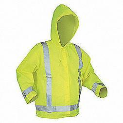MCR SAFETY Polyurethane Rain Jacket w/Hood,Hi-Vis Yellow/Grn