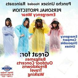 Rain Coat Hooded Poncho Disposable Protection Gown Emergency