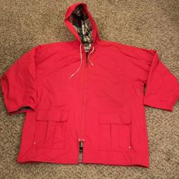 MISTY HARBOR Rain Coat Slicker Jacket Parka Plaid Lined RED