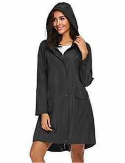 SoTeer Rain Coat Women Long Rain Jacket Lightweight Hooded,
