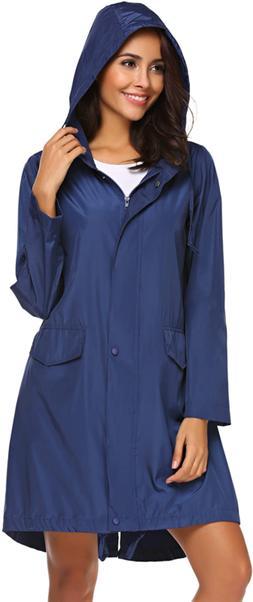 SoTeer Rain Coat Women Long Rain Jacket Lightweight Hooded W