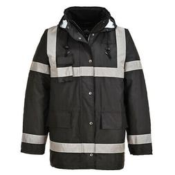 Rain Jacket 100% Waterproof Lite Bomber Coat Hood Work Refle