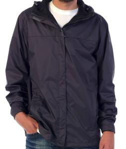 Gioberti Rain Jacket, Black Waterproof Hooded Poly 2Pockets