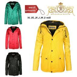 Rain Jacket Fur Lining Ladies Hooded Vinyl Plus Size Women C