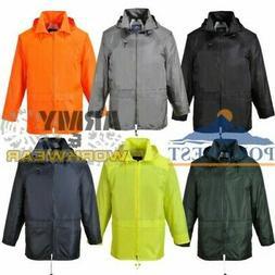Rain Jacket Waterproof Portwest Work Coat Hooded Zipped Brea