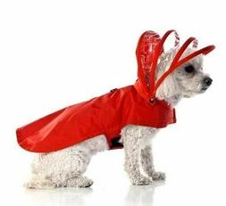 Red Vinyl Dog Rain Coat with Hood and Fleece Lining - Small
