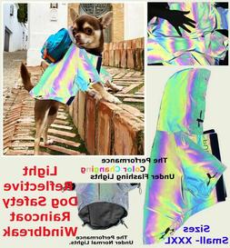 Reflective Dog Accessories Neon Clothes Vest Raincoat Rain F
