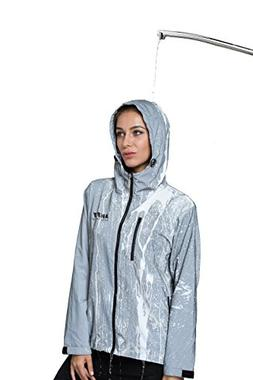 AKFLY Reflective Jacket with Hoodie and Waterproof Wind Brea