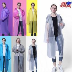 Reusable Men Women Raincoat Rain Coat Hooded Waterproof Jack