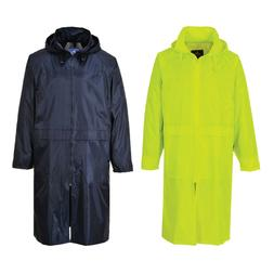 S438 Portwest Yellow or Navy Waterproof Classic Long Rain Co