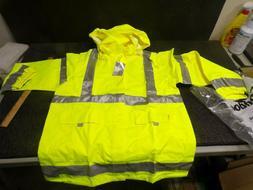 Safety Rain Jacket Reflective Green Hi-Vis Raincoat w Hood m