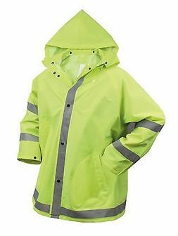 Safety Rain Jacket - Reflective Green Hi-Vis Raincoat Rainja